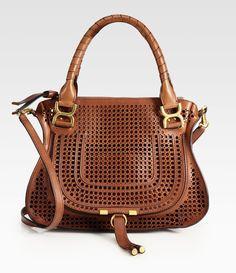 "Chloe - ""Marcie"" medium perforated leather shoulder bag."
