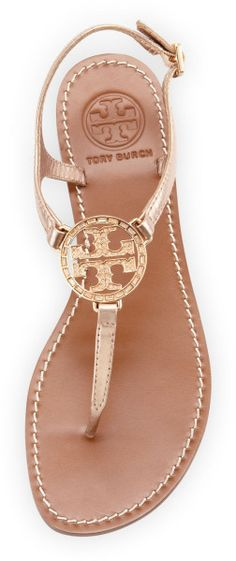 Tory Burch Violet Logo Thong Sandal in Gold (ROSE GOLD) | Lyst