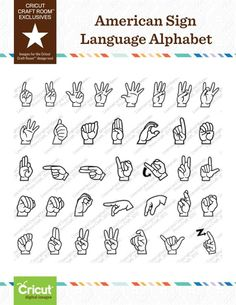 Cricut Craft Room™ Exclusives, American Sign Language Alphabet; SOOOO excited to use this for Patrick!