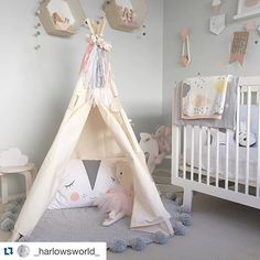 Such a gorgeous little space for a lucky little girl @_harlowsworld_ our grey pom pom playmat works well with the pretty pink tones #pompoms #rug #baby #kids #nursery #roomdecor #handmade #mooibaby