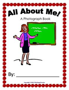 """FREEBIE! """"All About Me"""" photograph book--about the TEACHER.  Just add photos. Super cute and easy.  Need to make before school starts!!!"""