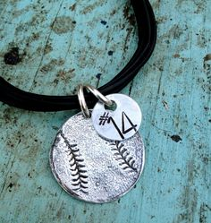Sterling Silver Baseball Softball Charm Bracelet Personalized Hand Stamped Too. $40.00, via Etsy.