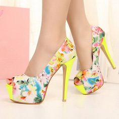 Haveall — Flora Print High Heels with Peep Toe Design