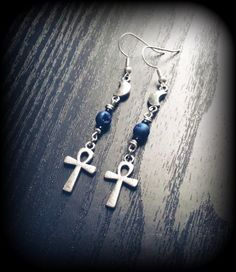 Silver Moon and Ankh Earrings with Blue Crystal Geode Beads