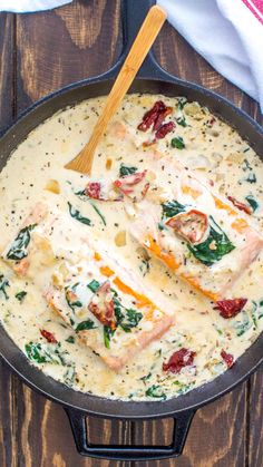 Tuscan Salmon is an easy one-pan meal featuring pan seared salmon in a creamy sauce with spinach sun dried tomatoes and Italian flavors salmon fish fishrecipe salmonrecipe easyrecipe dinnerrecipe sweetandsavorymeals Seafood Pasta, Seafood Dishes, Seafood Recipes, Dinner Recipes, Cooking Recipes, Healthy Recipes, Cooking Corn, Seafood Platter, Cooking Turkey