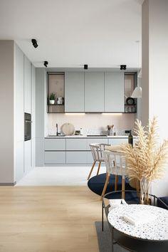 Kitchen Room Design, Kitchen Dinning, Kitchen Sets, Modern Kitchen Design, Living Room Kitchen, Home Decor Kitchen, Home Kitchens, Modern Kitchen Interiors, Flat Interior Design