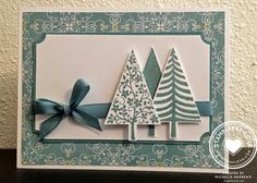 SU! Festival of Trees stamp set and Tree punch; All is Calm DSP; Lost Lagoon and Whisper White - Michelle Andrews
