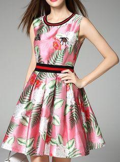 Bug-Applique Floral & Leaf Print Dress