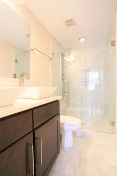 Contemporary Master Bathroom with can lights, Double sink, Handheld showerhead, Steam showerhead, Master bathroom, Casement