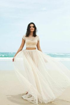 Bohemian Two Piece Lace and Tulle Wedding Gown – Plus Size up to size 28