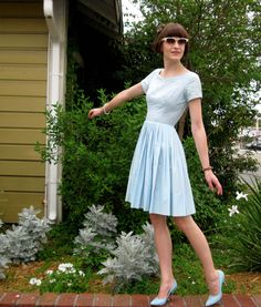 1950s Light Blue Cotton Dress with Full Pleated Skirt $50