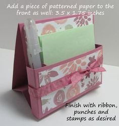 Freestanding post it note holder photo tutorial stampin up 11
