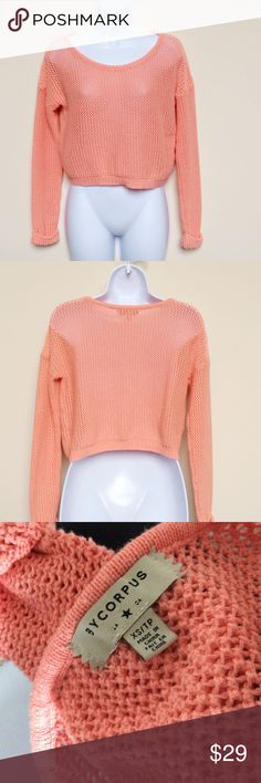Bycorpus (UO) Bright Orange Open Knit Sweater From Bycorpus by Urban Outfitters, this open knit pullover sweater is a size XS and a unique bright orange color with an almost pink-ish tint to it.  Very trendy style and color!  Add this piece to your fall and winter wardrobe and stay warm and chic :) Urban Outfitters Sweaters Crew & Scoop Necks