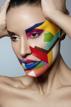 I love these colours, shows how our emotions can be so different!! Structural face painting perfect for Halloween