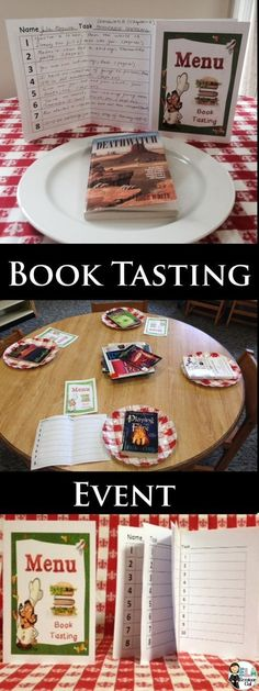 BOOK -TASTING and TEXT-TASTING:  To run book-tasting or text-tasting events, you'll need several books, short stories or articles and menu covers with task sheet inserts. Students 1) hunt for author's craft techniques 2) get exposure to multi-genre texts, and 3) discuss why they think authors use specific formats to deliver information. Secure multiple pages with rubber bands to create handy reference booklets that students will use throughout the year. #strugglingreaders (available at TpT)