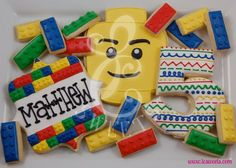 Lego cookies Lego Cookies, Lego Cupcakes, Lego Cake, Cookies For Kids, Iced Cookies, Sugar Cookies, Lego Themed Party, Lego Birthday Party, Birthday Cookies