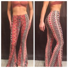 Red Printed Boho Flare Pants The most comfortable boho flares! They're super slimming & complete with an elastic waistband! Also available in black! Available in S M L Southern Lush Boutique Pants Boot Cut & Flare