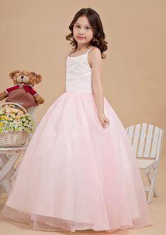 2015 Zipper Tulle Appliques Pink Floor Length Spaghetti Straps Sleeveless Ball Gown Flower Girl Dresses FGD