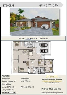 272 4 Bedroom house plans Double Garage Home Plans House Plans For Sale, Family House Plans, Dream House Plans, Modern House Plans, Small House Plans, House Floor Plans, 4 Bedroom House Designs, 4 Bedroom House Plans, Br House