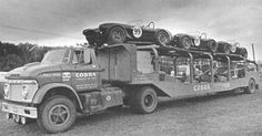 1963 Shelby American Cobra Racing Team Truck loaded up with the Team Cobras at Elkhart Lake for the Road America 500 USRRC Race - September 8 won by Augie Pabst and Bill Wuesthoff by Scott Sigelko Ac Cobra, King Cobra, Shelby Gt 500, Shelby Car, Vintage Race Car, Vintage Trucks, Vintage Auto, Cool Trucks, Big Trucks