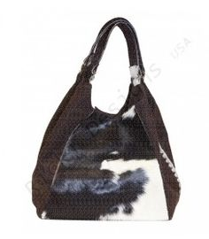 Leather hobo Leather hair on hobo/wool tweed $59.00