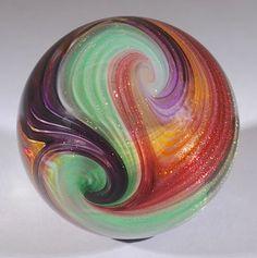"Wald Glass ~ Handmade Art-Glass 'Aventurine Lutz Quadra-Sphere Marble'   It has 4 Twists, is NEW, and Signed ""Wald 15""   1.67""/42.6mm   from the 'Wald Glass Art Studio of Rolf & Genie Wald'   on eBay ♥≻★≺♥"