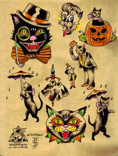 Another Russian criminal tattoo rip off n the upper left /// Will_koffman_saint_james_tattooery_halloween_black_cat_classic_vintage_tattoo_design_sheet_flash_net.jpg (684×900)