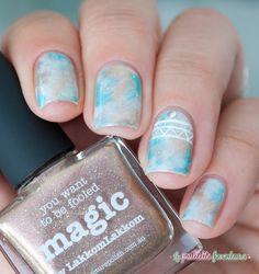 Picture polish Magic Lakodom Fool's gold saran wrap aztec galaxy nail art