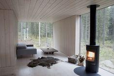 Log burner in a Finnish house: Scandinavian Retreat