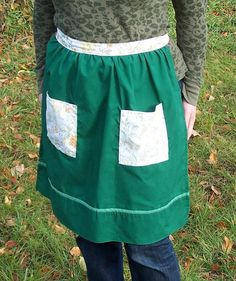 Ladies' Half Apron Green with Autumncolored by beforeNafterdesigns