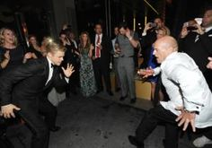 """Nothing gets a party going like a dance-off! """"Dancing with the Stars"""" choreographer Derek Hough certainly had something to celebrate Sunday night after taking home the Emmy Award for Outstanding Choreography, and who better to party with than another fellow trophy winner?"""