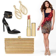 "#HeadToToeThursday styling with a leopard and floral Caché dress, gold Caché jewels, Gucci shoes, and Dolce & Gabbana lipstick in ""Nude Peach."""