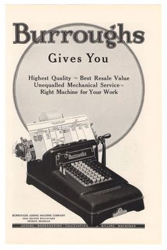Burroughs Adding Machine '20s Bookkeeping Vintage Advertisement Original Ad 1925 in Collectibles | eBay