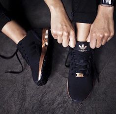 //ZX Flux Adidas Black / Copper / Metallic / Women's adidas #fashion #accessories #shoes