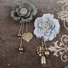 Prima Fabric Flowers Allegra Dove Lace 556488 Grey Black Dangling Pearls Charms. $3.99, via Etsy.