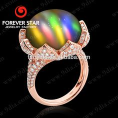 2015 New Design 14K Gold FS-Cat's Eye Ring With Diamond Big Size Gemstone Rose Gold Plated Jewelry GR0000115