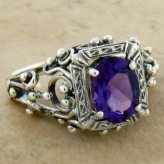 Genuine African Amethyst Antique Design 925 Sterling Silver Ring Size 6 267 | eBay