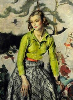 Portrait of a Lady by Cathleen Mann(born 31 December 1896 Newcastle upon Tyne, committed suicide by an overdose of sleeping pills in her London studio 9 September 1959) was a British portrait painter and costume designer for film.She was the daughter of the Scottish painter Harrington Mann and the interior decorator Florence Sabine Pasley. From March 1926 to 1946 she was the Marchioness of Queensberry, second wife of Francis Douglas, 11th Marquess of Queensberry. wikipedia