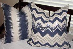 "Set of 2 Decorative Designer Throw Pillow Covers Zazzle Nina Ikat Stripes and Chevron 20""x20"" Navy Blue Birch Gray Cream"