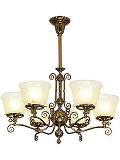 """Eureka 6 Light Gas Chandelier With 4"""" Fitters 