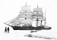 Scott's doomed expedition: The ship 'Terra Nova' under sail through pack ice. Two members of the expedition stand on ice in the foreground © Scott Polar Research Institute