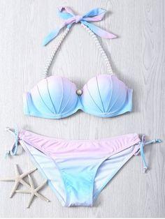 GET $50 NOW | Join RoseGal: Get YOUR $50 NOW!http://www.rosegal.com/bikinis/sweet-beaded-halter-neck-color-ombre-bikini-set-591012.html?seid=7877068rg591012
