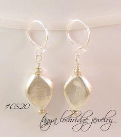 "Sterling Silver Puffed ""Leaf"" Earrings"