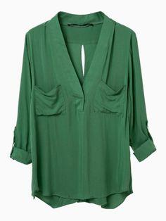 Green V Neck Pocket Shift Shirt