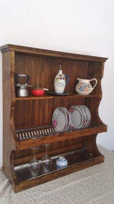 Mensola pensile Piattaia in legno massello scolapiatti cucina ...