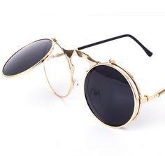 ac769bbfaba RETRO STEAMPUNK SUNGLASSES Flip Up Sunglasses