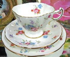 HAMMERSLEY TRIO FLOWER HAND PAINTED  TEA CUP AND SAUCER DUO