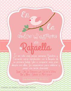 Delightful Invitación Baby Shower Bebé Rafaella. Temática : Pajaritos. Verde Y Rosa.  Niña.