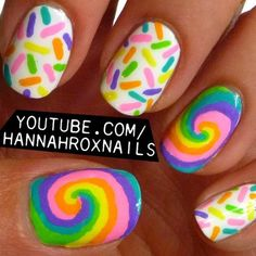 candy nails  <3RAINBOW SWIRLS & MATCHING LINES<3 @
