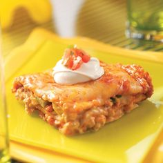 Turkey Enchilada Lasagna Recipe -The whole family will love the familiar Southwestern flavors in this tasty dish. —Julie Cackler, Des Moines, Iowa